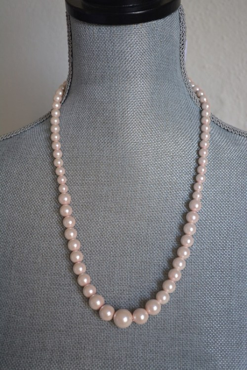 Pale Pink Pearl Necklace,Pink Necklace,Pale Pink Necklace,Pink Pearl Necklace, Vintage Pearl Necklace