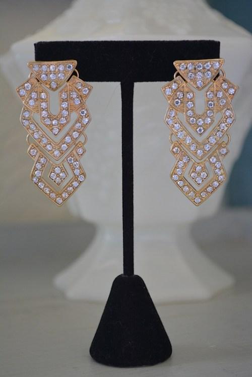 Gold Art Deco Earrings,Art Deco Earrings,Art Deco Jewelry, Gold Column Earrings