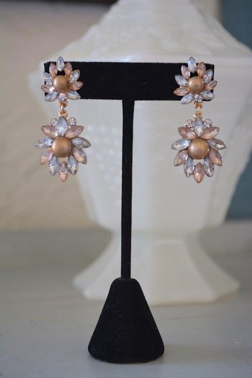 Mocha Pearl Earrings,Pearl and Rhinestone Earrings,Mocha Earrings