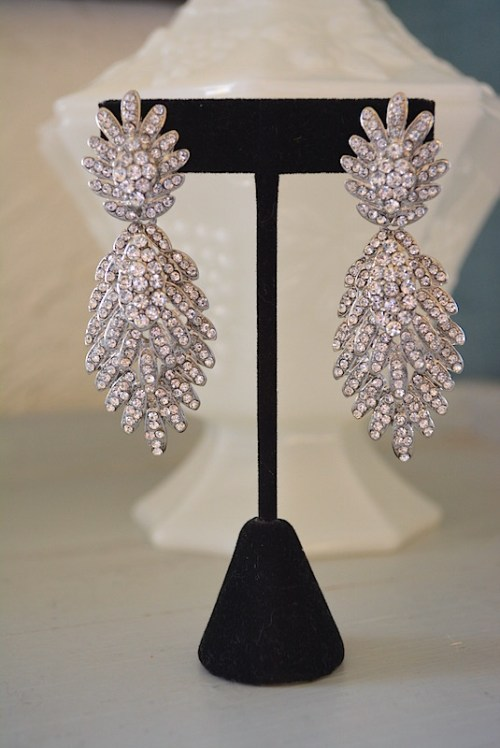 Rhinestone Statement Earrings, Elizabeth Taylor,Art Deco Earrings,Rhinestone Earrings,Bridal Earrings,Fan Earrings