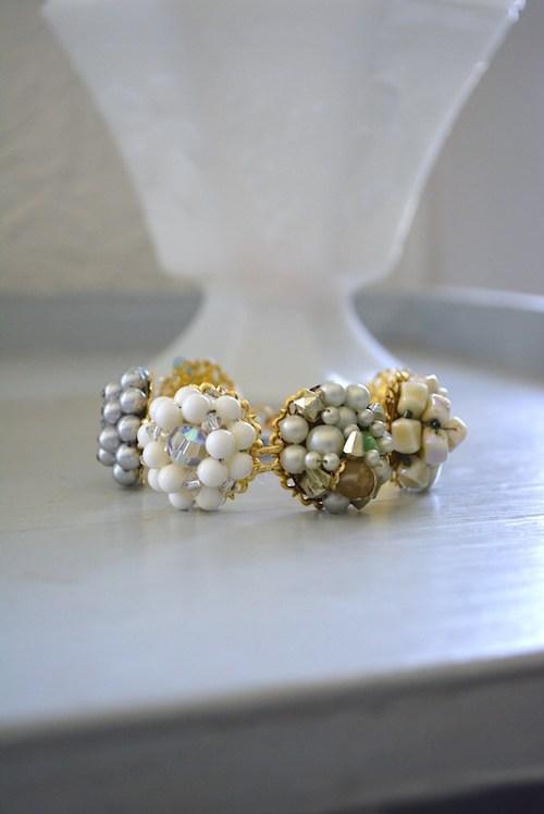 White Medallion Bracelet, Repurposed Bracelet,Vintage Parts, Medallion Bracelet, Linked Bracelet, Disc Bracelet