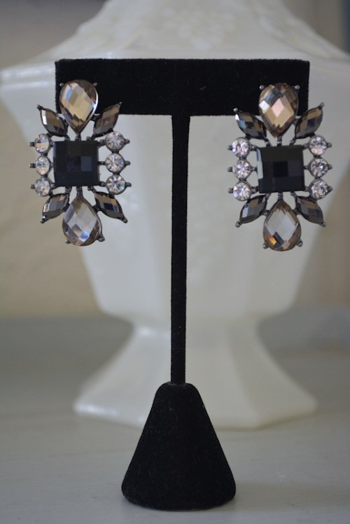 Black and Rhinestone Earrings,Black Earrings,Black Rhinestone Earrings,Grey Rhinestone Earrings,Rhinestone Earrings