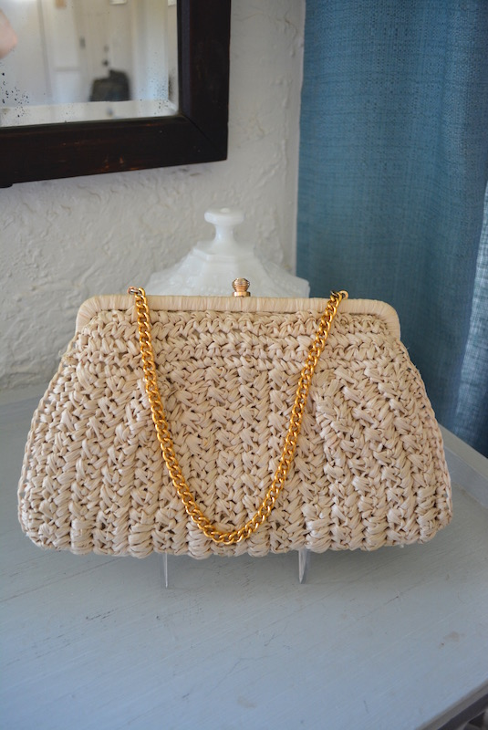 Jute Purse, Straw Purse, Vintage Natural Purse, Natural Purse