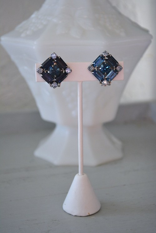 Square Sapphire Earrings, Sapphire Earrings, Blue Earrings, Dark Blue Earrings, Navy Earrings, Vintage Blue Earrings, Bridal Earrings, Vintage Bridal Earrings, Bridal Jewelry