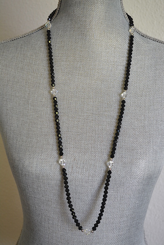 Black Crystal Necklace, Swarovski Necklace, Trifari Necklace, Trifari, Trifari Jewelry, Black Beaded Necklace, Vintage Black Necklace, Crystal Necklace