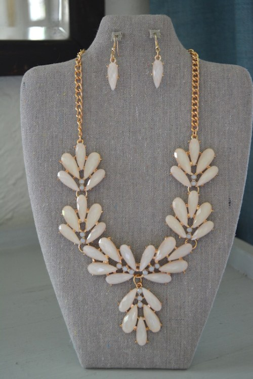 Pale Pink Necklace Set, Pink Jewelry, Pale Pink Jewelry