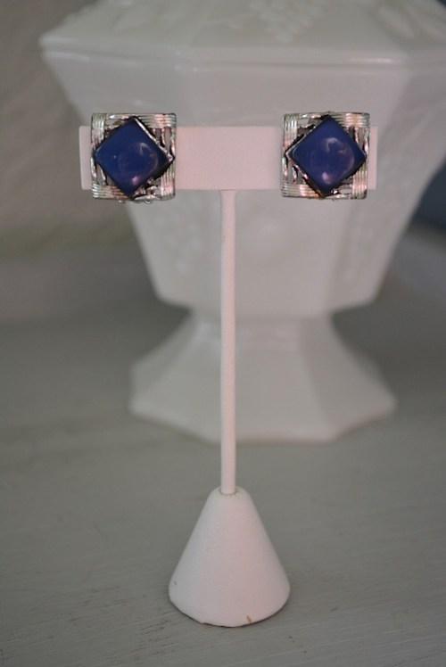 Navy Moonstone Earrings, Blue Moonstone Earrings, Navy Earrings, Moonstone Earrings, Coro Earrings, Coro Jewelry, Coro, Vintage Coro, Signed Costume Jewelry, Silver Earrings