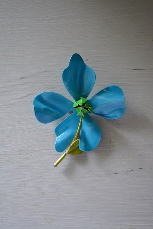 Blue Flower Brooch, Vintage Flower Brooch, Enamel Flower Brooch, Vintage Flower Pin, Flower Pin