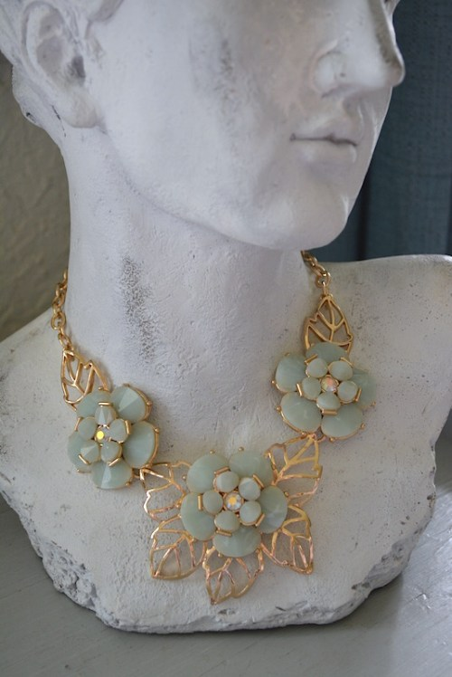 Mint Flowers Necklace, Mint Necklace, Gold and Mint Necklace, Gold and Mint Jewelry, Flower Necklace, Flower Jewelry