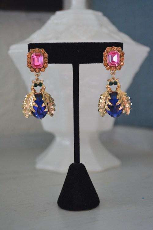 Bug Earrings, Bug Jewelry, Victorian Earrings, Sapphire Earrings, Bug Drop Earrings