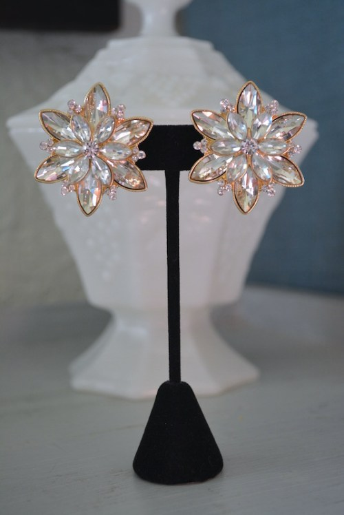 Rhinestones Flower Earrings, Rhinestone Flower Earrings, Bridal Earrings, Bridal Jewelry, Flower Earrings