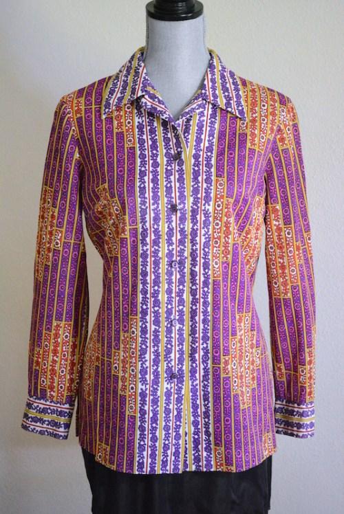 Purple Print Shirt, Alex Colman California, Alex Colman, Vintage Clothes, Vintage Shirt, Vintage Blouse, Graphic Shirt, 1960's Clothes, 1970's Clothes