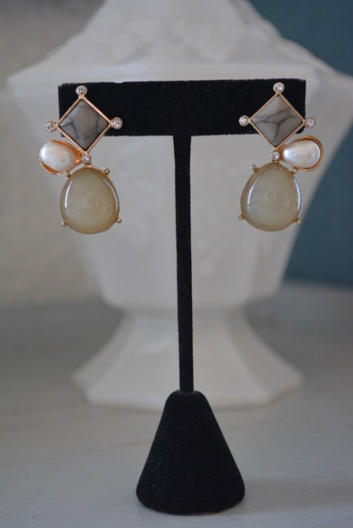 Stone Earrings, Grey Earrings, Grey and Pearl Earrings