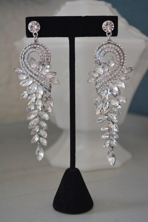Rhinestones Drop Earrings, 1950's Starlets, Rhinestone Drop Earrings, Statement Earrings, Rhinestone Statement Earrings, Bridal Jewelry, Bride, Cocktail Jewelry, After 5 Earrings