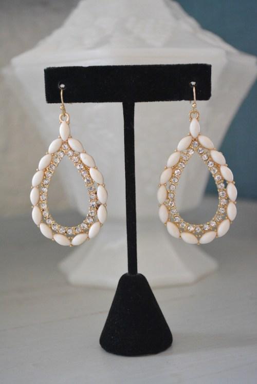 White Teardrop Earrings, Teardrop Earrings, White Earrings, White Jewelry,