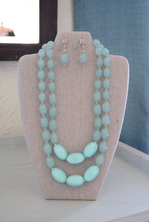 Mint Beaded Necklace Set, Mint Jewelry, Mint Necklace and Earrings, Necklace and Earrings, Green Jewelry, Green Necklace and Earrings