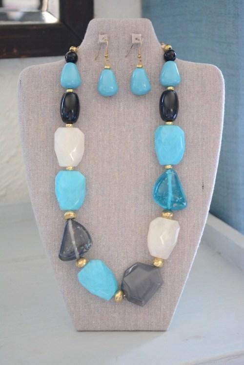 Turquoise Necklace Set, Blue Necklace Set, Blues Necklace Set, Blue Jewelry, Blue & Black Jewelry, Blue Stone Jewelry, Turquoise Jewelry, Necklace and Earrings