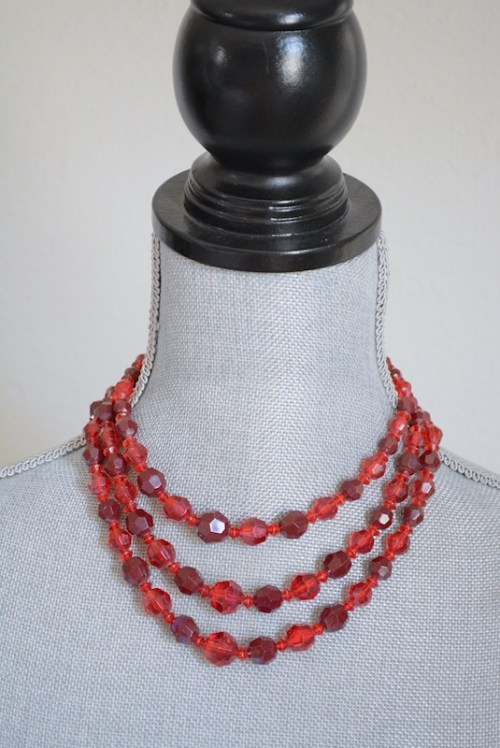 Red Beaded Necklace, Red Necklace, Vintage Necklace, Vintage Red Necklace, Vintage Beaded Necklace