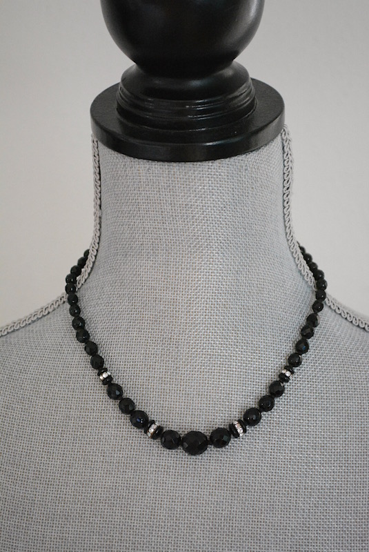 Black Glass Beaded Necklace, Vintage Necklace, Vintage Black Necklace, Black Beaded Necklace