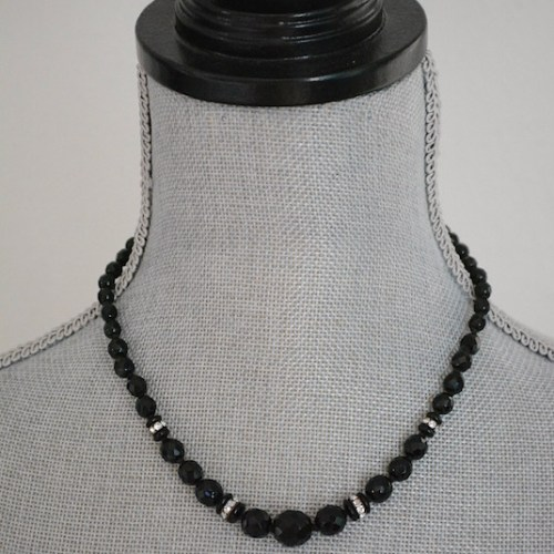 Black Glass Beaded Necklace, Vintage Necklace, Vintage Black Necklace, Black Beaded Necklace
