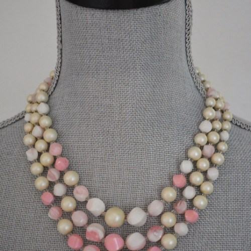 Baby Pink Beaded Necklace, Pink Necklace, Vintage Pink Necklace, Vintage Beaded Necklace, Pink Beaded Necklace