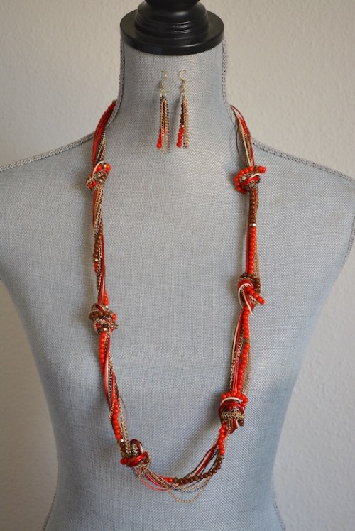 Red Knotted Necklace Set, Long Red Necklace and Earrings, Red Beaded Jewelry, Necklace and Earrings, Red and Gold Jewelry