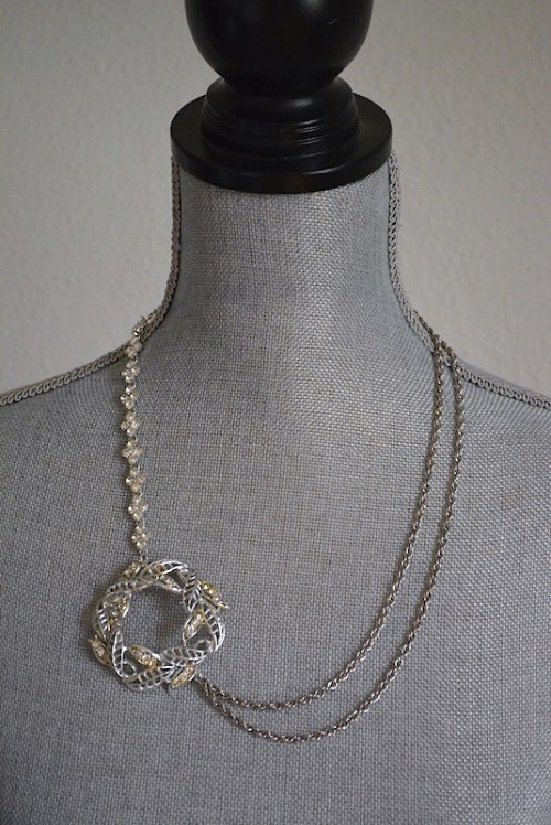Rhinestones and Chains Necklace, Silver Necklace, Repurposed Jewelry, Silver Medallion Necklace