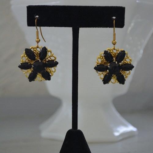 Black Flower Earrings, Handmade Jewelry, Black Earrings, Black and Gold Earrings, Flower Earrings, Repurposed Jewelry, Vintage Parts