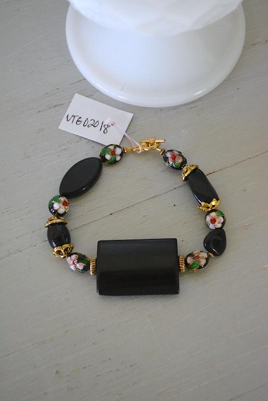 Black Cloisonné Bracelet, Cloisonne Bracelet, Black Bracelet, Black and Pink Bracelet, Pink Flowers Bracelet