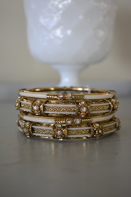 Ivory Bangle Bracelets, Bangle Bracelets, , Ivory and Gold Bracelets, Sari Inspired