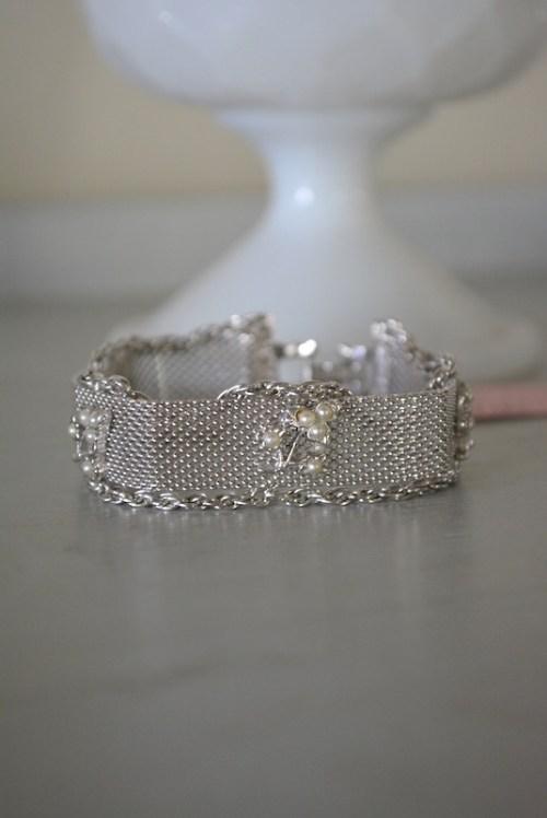 Silver Flower Bracelet, Silver Bracelet, Goldette, Mesh Jewelry, Vintage Costume Jewelry
