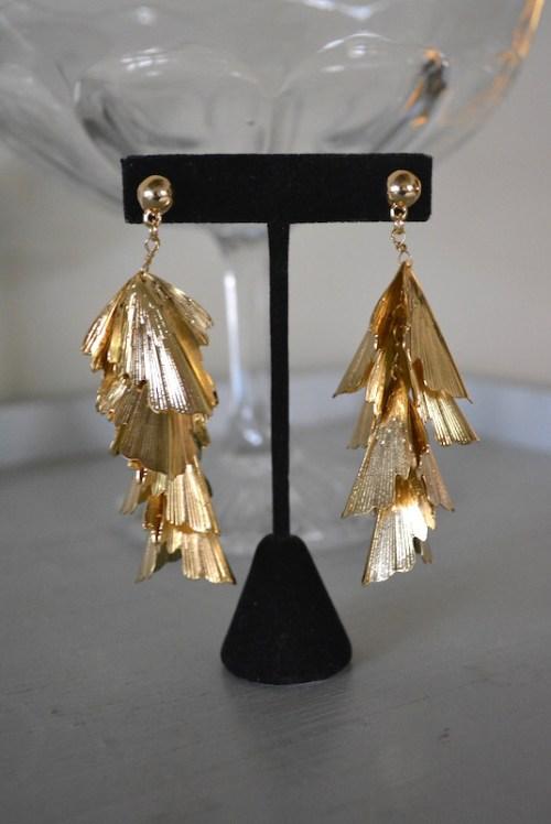 Gold Falling Leaves Earrings, Gold Leaves Earrings, Gold Earrings