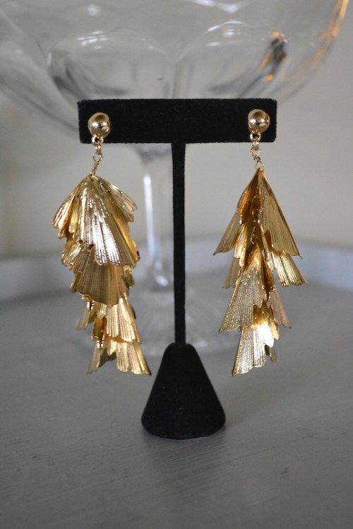 Gold Falling Leaves Earrings, Gold Leaves Earrings, Gold Earrings