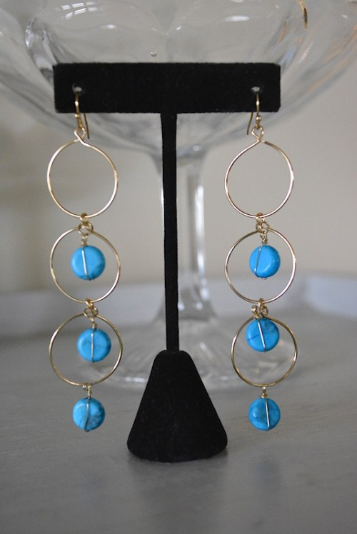 Gold Hoop Turquoise Earrings, Turquoise Earrings, Hoop Earrings, Semi-Precious Stones