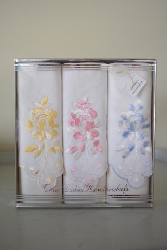 Three Ladies Handkerchiefs, Vintage Handkerchiefs, Ladies Handkerchief