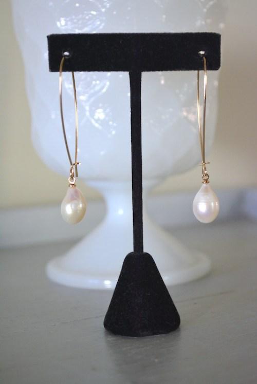 Teardrop Pearl Hoops, Pearl Earrings, Pearl Hoop Earrings, Bridal Earrings, Bridal Jewelry, Wedding Earrings