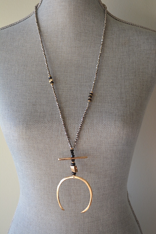 Long Pewter Beaded Necklace, Pewter Necklace, Long Beaded Necklace, Grey Beaded Necklace, Grey and Gold Necklace