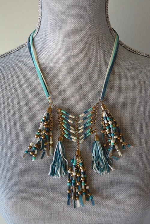 Suede Fringe Necklace, Blue and Turquoise Necklace, Beaded Necklace