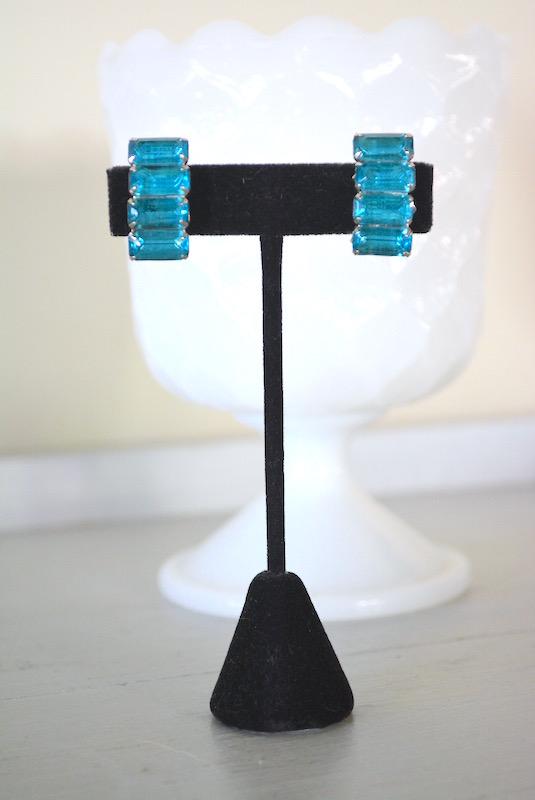 Aquamarine Bar Earrings, Aquamarine Earrings, Bridal Earrings, Vintage Bridal Earrings, Blue Earrings, Vintage Blue Earrings
