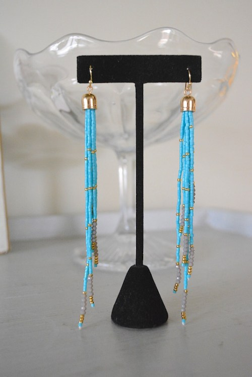 Turquoise Beaded Fringe Earrings, Turquoise Earrings, Beaded Fringe Earrings, Fringe Earrings