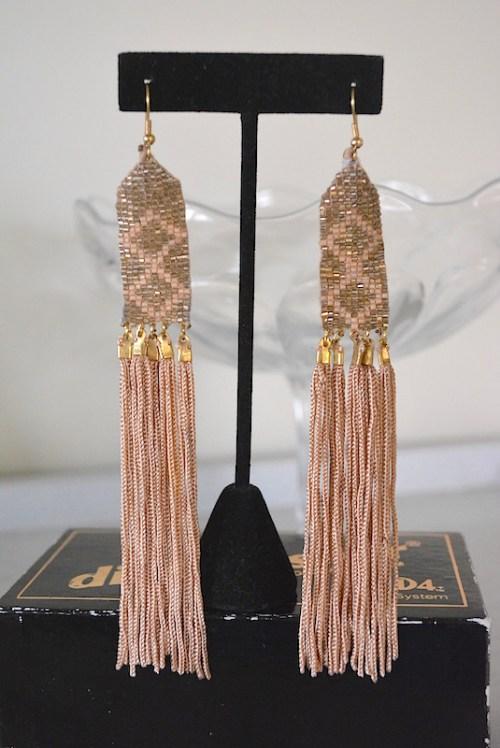 Taupe Diamond Fringe Earrings, Taupe Earrings, Brown Earrings
