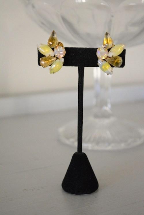 Daffodil Yellow Earrings, Yellow Earrings, Vintage Yellow Earrings