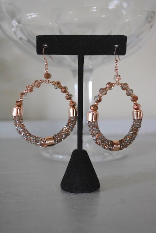 Rose Gold Hoop Earrings, Hoop Earrings, Rose Gold Earrings, Rose Gold Jewelry