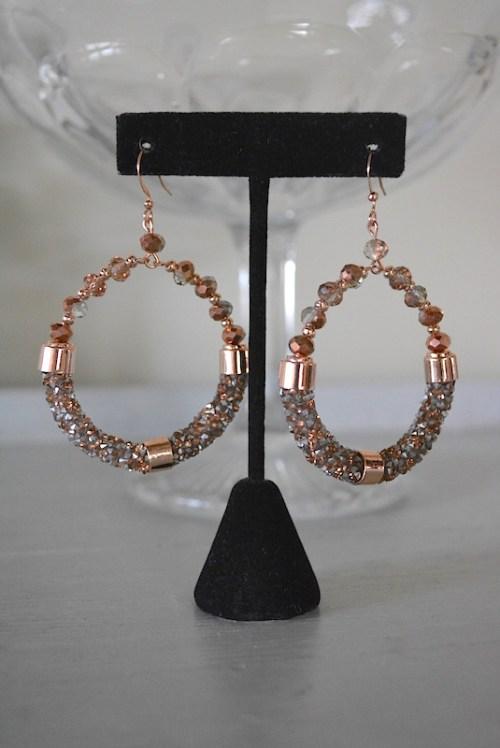 Rose Gold Hoop Earrings, Hoop Earrings, Rose Gold Earrings, Rose Gold Jewelry