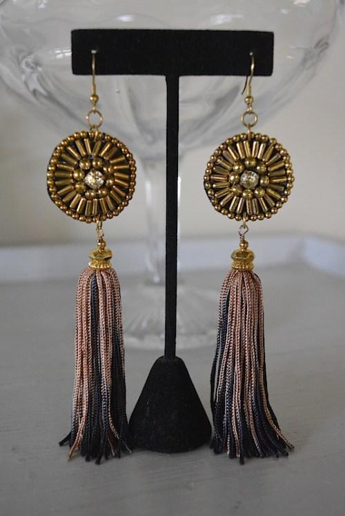Dial Fringe Earrings, Statement Earrings, Fringe Earrings