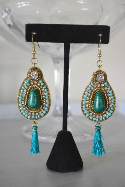 Emerald Beaded Earrings, Green Earrings, Green and Gold Earrings, Beaded Earrings, Sari Inspired Jewelry
