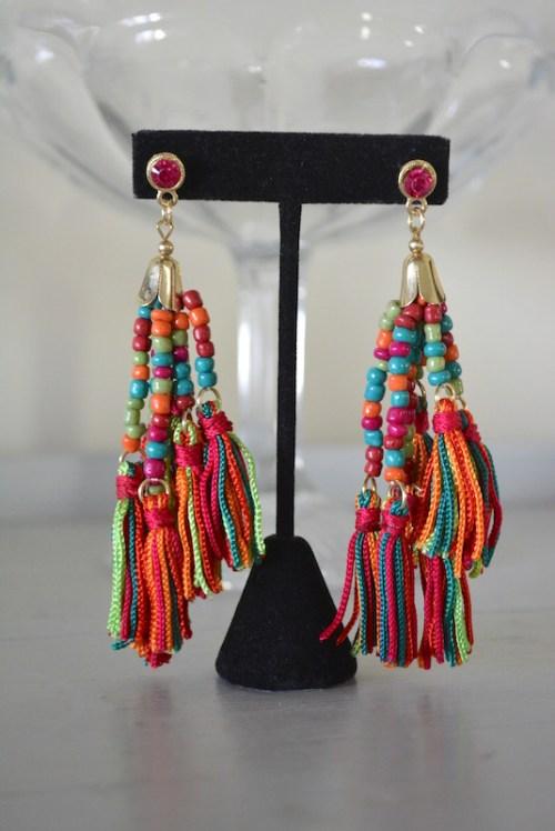 Colorful Fringe Earrings, Fringe Earrings, Bright Earrings