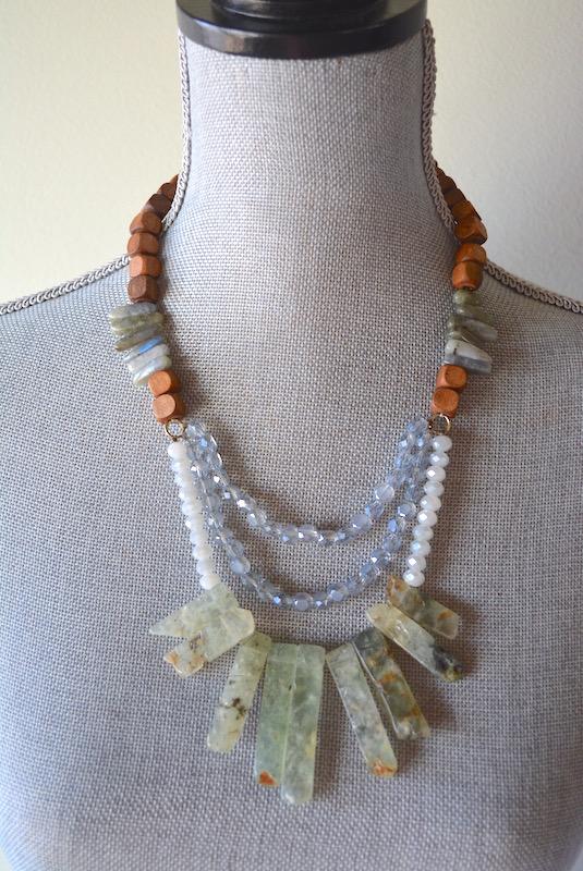 Beads and Stones Necklace, Crystal Beaded Necklace, Bohemian Style, Boho Fashion, Bohemian, Bohemian Necklace, Bohemian Jewelry