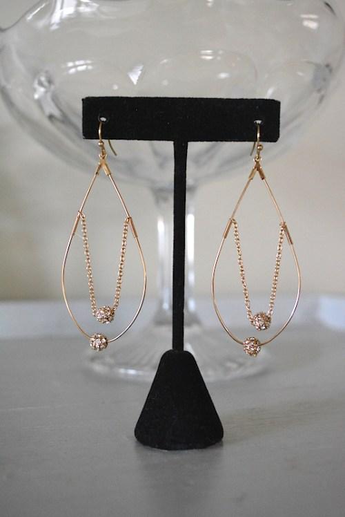 Rhinestone Teardrop Earrings, Teardrop Earrings, 1970s Inspired Jewelry