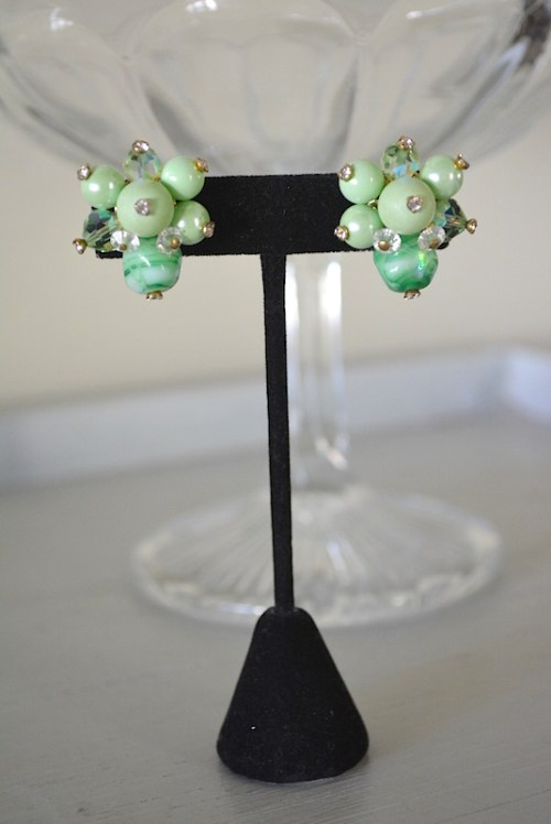 Melon Green Beaded Earrings, Vendome Earrings, Vendome Jewelry, VIntage Earrings, Green Earrings